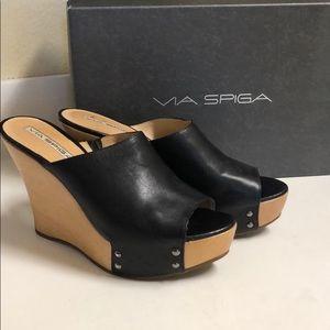Via Spiga leather wood platform shoes